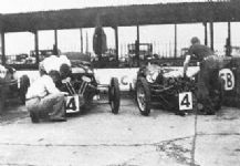 Morgan 3 wheelers Laird & Lones cars in Brooklands pits 1934 Relay Race
